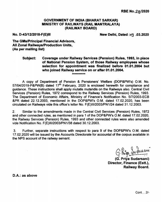 NPS to Railway Services Pension Rules 1993 who joined after Jan 1, 2004